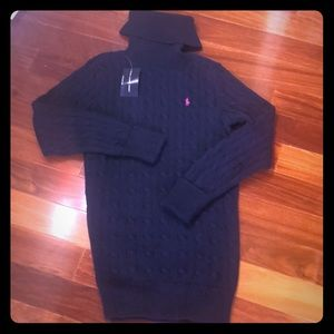 NWT Ralph Lauren navy turtleneck cable knit